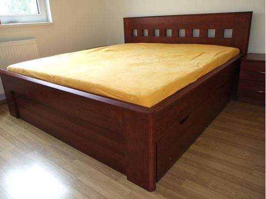 HELENA Dřevěná postel z masivu, s úložným prostorem