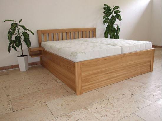 RADANA Dřevěná postel z masivu, s úložným prostorem